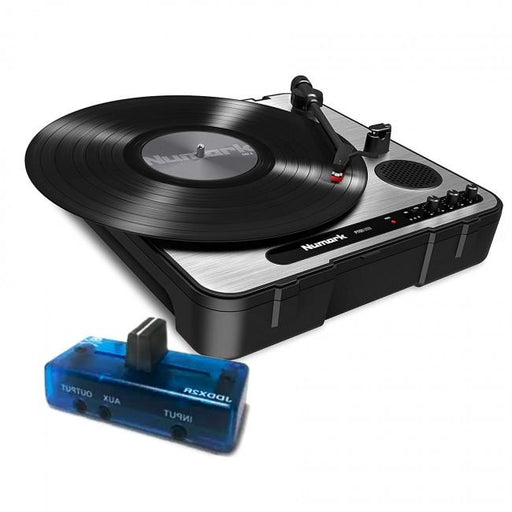 Numark PT01 USB  Portable Turntable with Jesse Dean JDDX2R Fader in Icy Blue - Rock and Soul DJ Equipment and Records