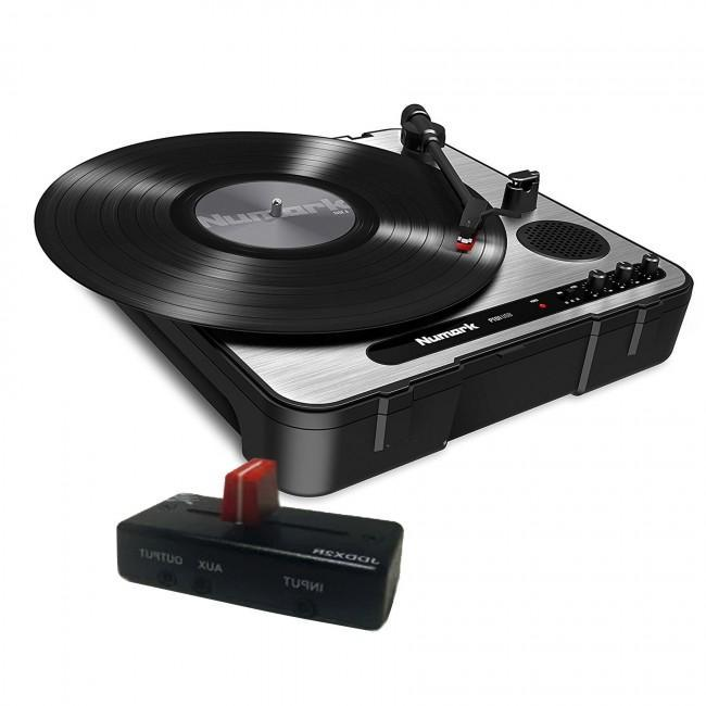 Numark PT01 USB Portable Turntable with Jesse Dean JDDX2R Fader in OG Black