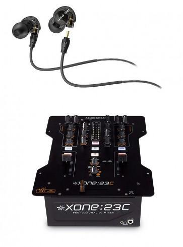 Allen & Heath XONE:23C DJ Mixer Plus Internal Soundcard with Bonus M6 Pro Mee Audio Earbuds - Rock and Soul DJ Equipment and Records
