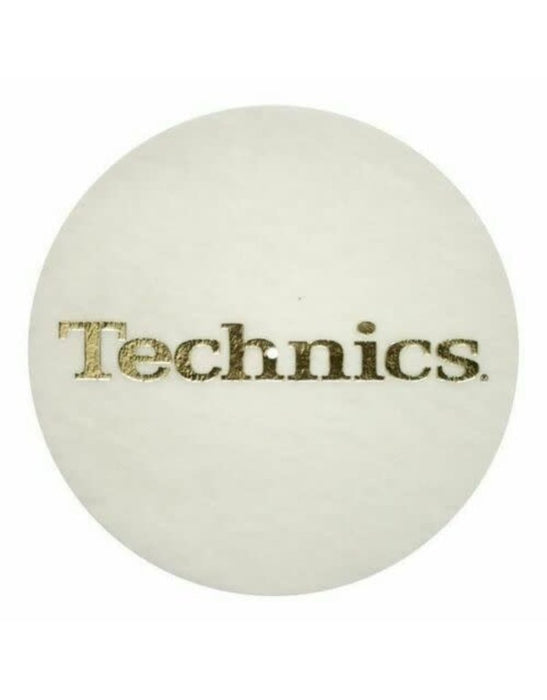 Technics Gold Logo on White Slipmats (Pair) - Rock and Soul DJ Equipment and Records