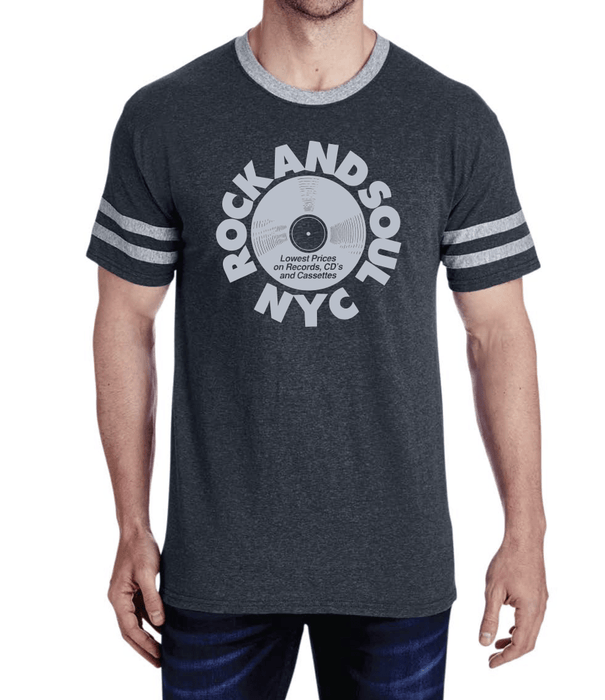 Rock And Soul Retro Varsity Tee (Gray) - Rock and Soul DJ Equipment and Records