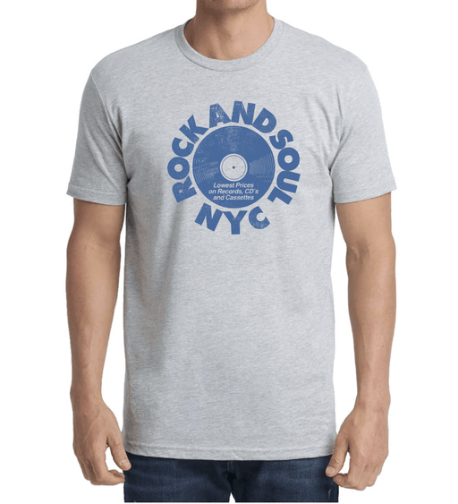 Rock And Soul Retro Tee (White/Blue) - Rock and Soul DJ Equipment and Records