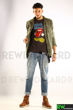 T-shirt Homme Rock Mick Jagger Mick Mouth Rolling Stone Vintage Style