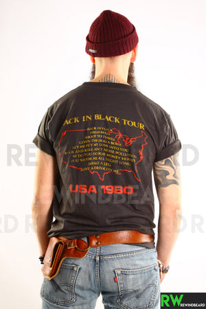 T-shirt Homme Rock  ACDC Back in Black Tour USA 1980