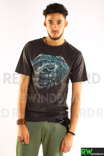 "T-shirt Homme Rock Metallica ""Ride The Lightning"" Recto/Verso Vintage Style"