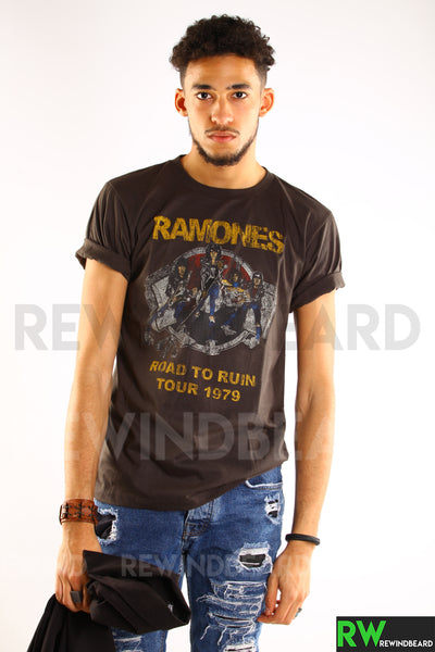 "T-shirt Homme Rock Ramones ""Road To Ruin"" Tour 1979 Vintage Style"