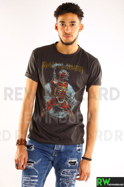 "T-shirt Homme Rock Iron Maiden ""Somewhere on Tour 1987"" Vintage Style"