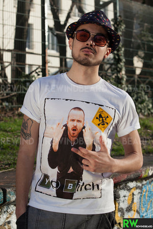 T-shirt Homme Exclusive A Breaking Bad Jessie Pinkman Yo Bitch Humour !!