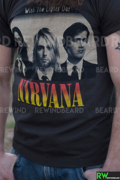 "T-shirt Homme Rock Nirvana Kurt Cobain ""With The Lights Out"" Vintage Style"