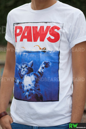 T-shirt Homme Exclusive A PAWS Pattes De Chat Humour Décalé Les Dents De la Mer!!