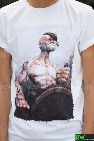 T-shirt Homme Exclusive A Popeye Marin Tatouage Thug Life !!