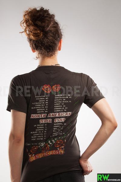 "T-shirt Femme  Rock Guns N'Roses ""North American Tour 1989"" vintage Style"