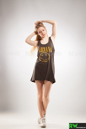 Debardeur Tunique Rock Femme Nirvana Kurt Cobain Smiley vintage style