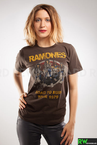 "T-shirt Femme Rock Ramones ""Road To Ruin 1979"" vintage Style"