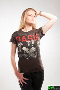 T-shirt Femme Rock Groupe Oasis Oasismania Gallagher style vintage