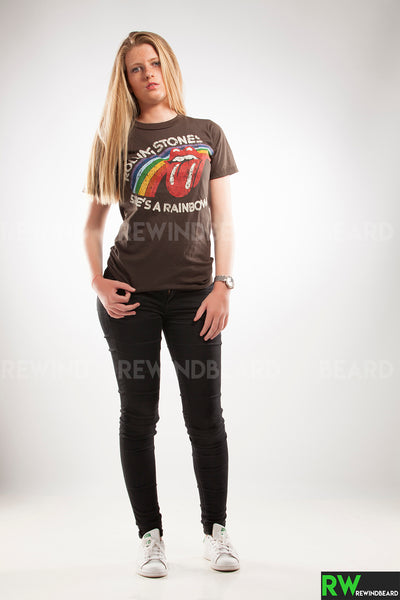 "T-shirt Femme Rock The Rolling Stone ""She's a Rainbow"" Style vintage"