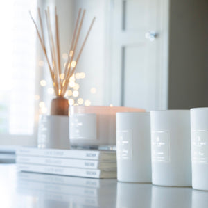 'Love' 3 Wick Candle - White Gloss | English Rose