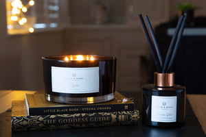 'Love' 3 Wick Candle - Black Gloss | English Rose