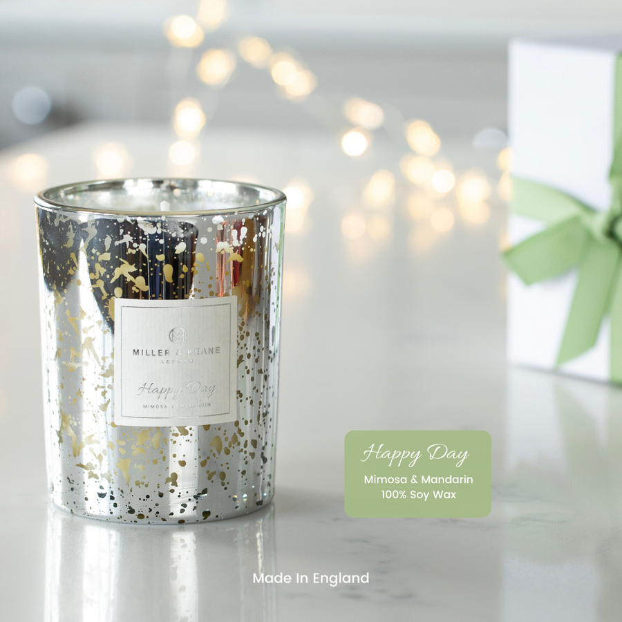NEW! Silver Electroplated 'Happy Day' Soy Scented Candle