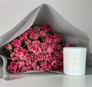 Beautiful Flowers & Candle from Harry's London Florist