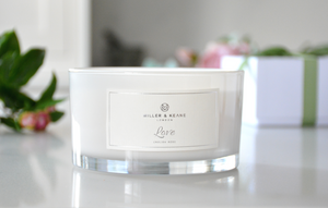 'Love' 3 Wick Candle - White Gloss | English Rose (Rose Quartz crystal)