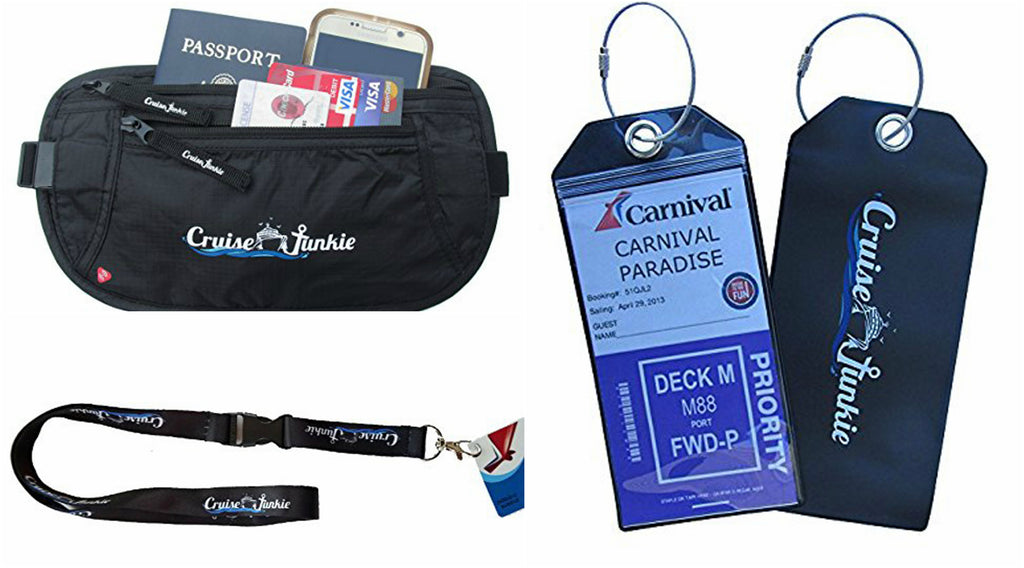Cruise Accessories, Cruise Junkie Sail Away Bundle, Cruise Junkie Travel Lanyard, Detachable Key Card Lanyard, Cruise Junkie Waterproof Zip Seal Luggage Tags, Cruise Junkie RFID Blocking Money Belt, Caribbean Cruise Accessories
