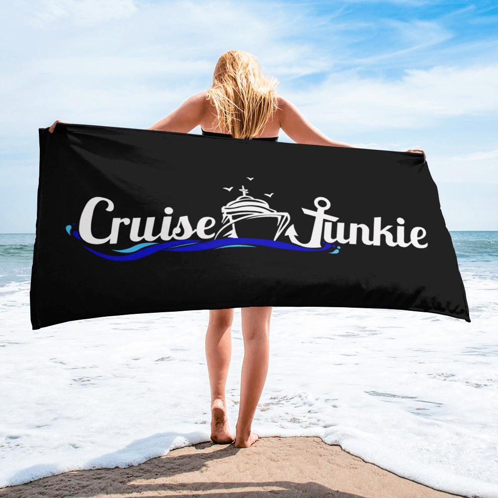 Cruise Junkie Black Beach Towel