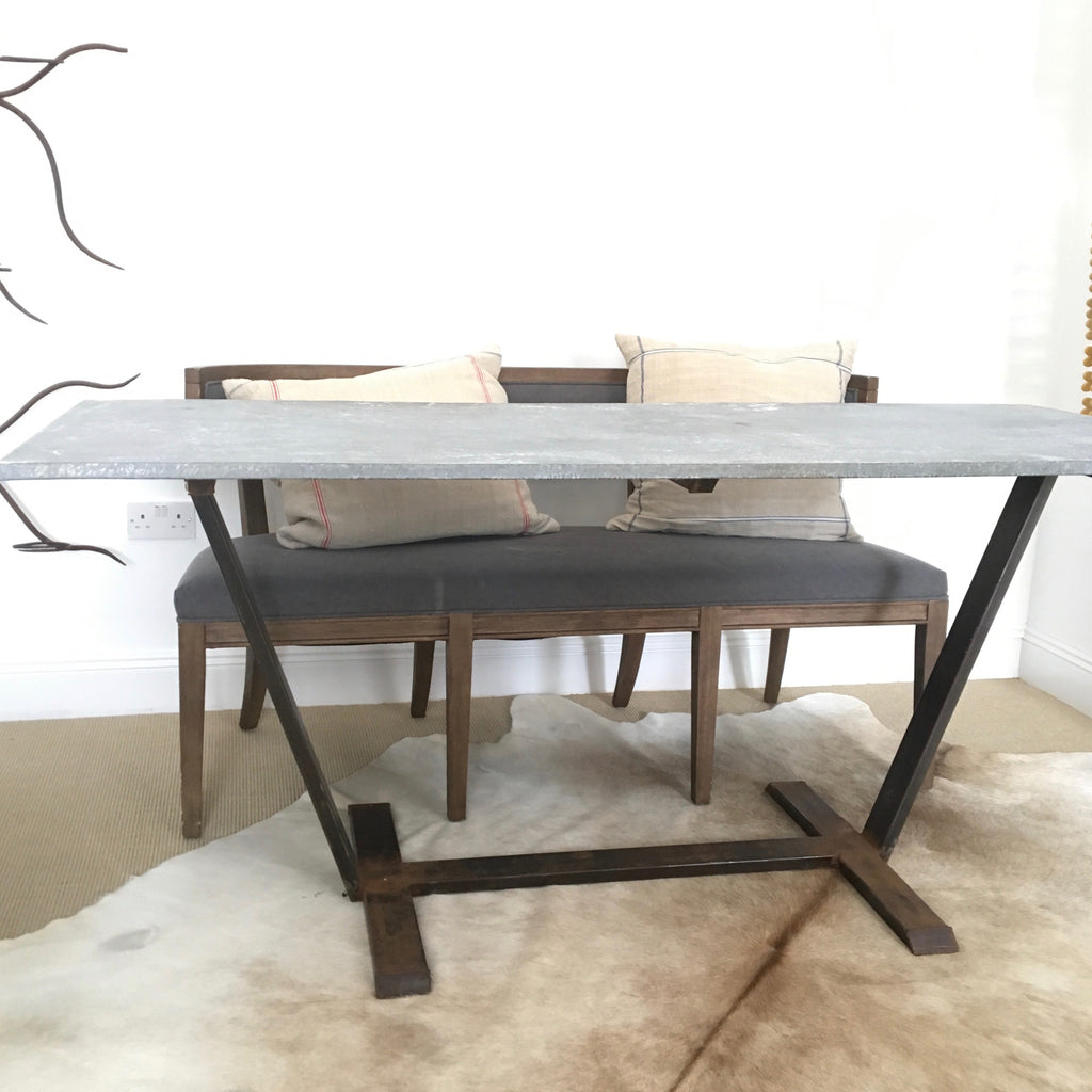 Zinc Wrapped Table Welded Base