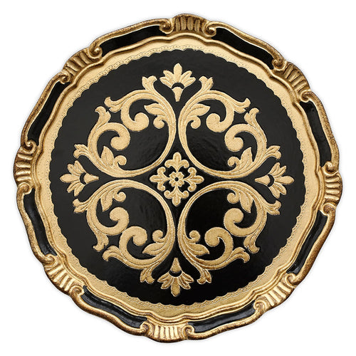 Charger Plate - Florentine Black & Gold 13""