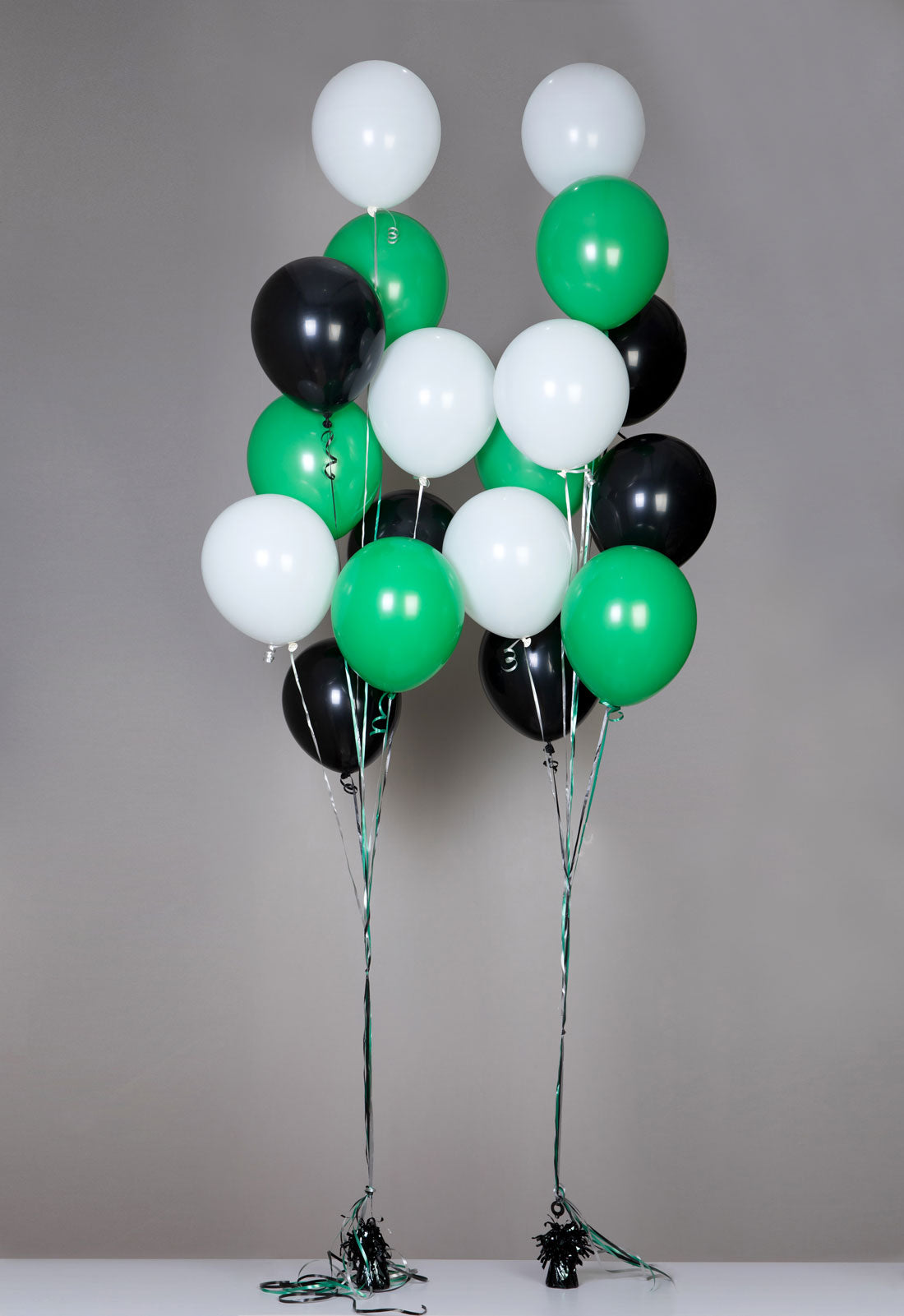 Balloons black white green