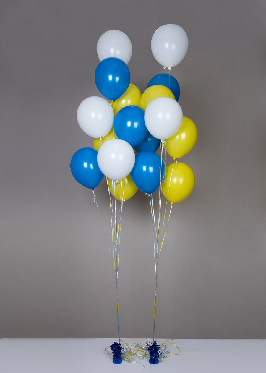 Balloons blue yellow white