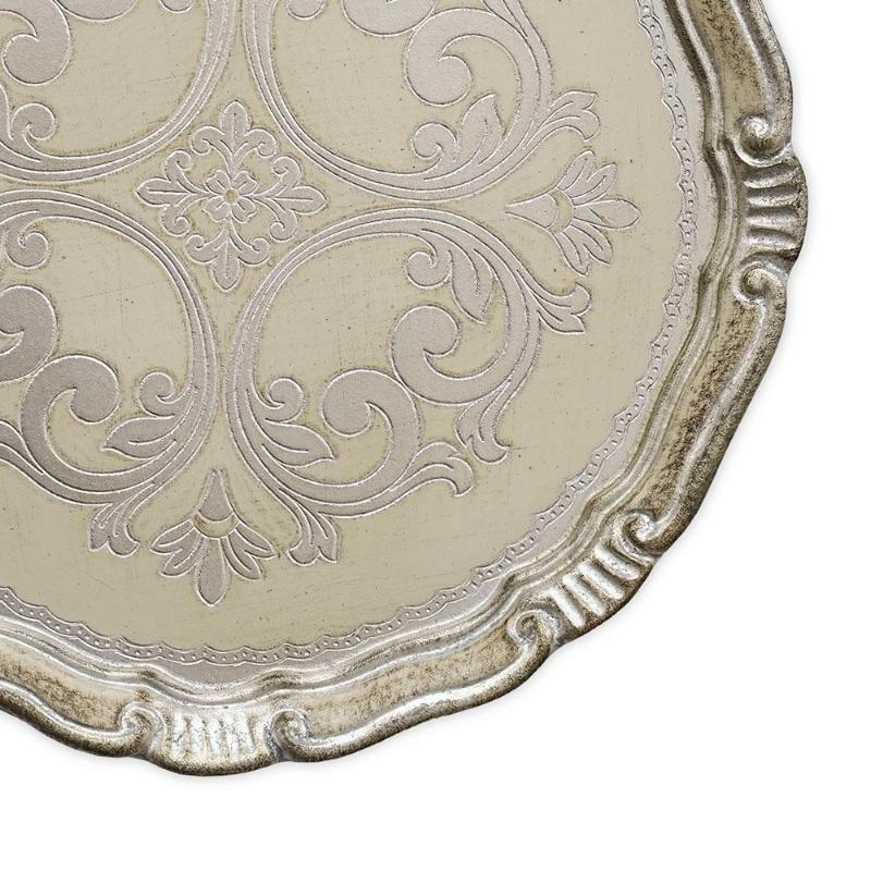 CHARGER PLATE - FLORENTINE ANTIQUE WOOD IVORY SILVER 13