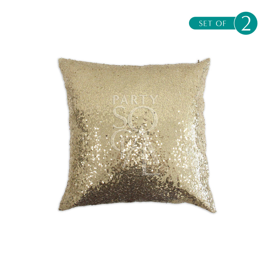 CUSHION GOLD SEQUIN 40X40CM