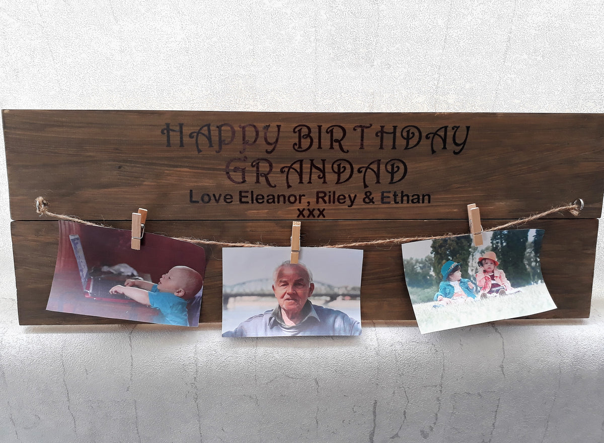 Happy Birthday wooden photo plaque