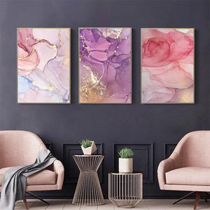 "Pastel Gold Canvas Prints Painting & Calligraphy Elegant Poetry Art Store A4 / 8.27"" x 11.69"" / 21 cm x 30 cm Set of 3"