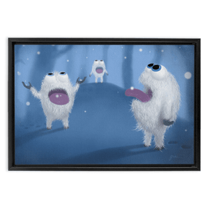 "Baby Yetis Framed Wall Art Embla Frame Thickness: 1.25"" / 3.2 cm Black 12"" x 18"" / 30.5 cm x 45.7 cm"