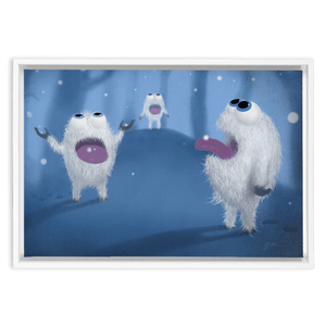 "Baby Yetis Framed Wall Art Embla Frame Thickness: 1.25"" / 3.2 cm White 12"" x 18"" / 30.5 cm x 45.7 cm"
