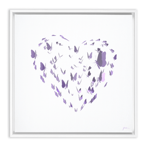 Butterfly Heart Framed Wall Art Embla 1.25 inch White 12x12 inch