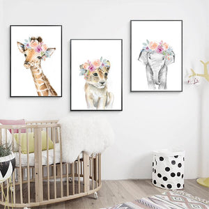 Animals Floral Crown Art Decor Canvas Painting , Baby Girl Prints Animal Giraffe Elephant Lion Wall Art Picture Nursery Poster Painting & Calligraphy walls tale