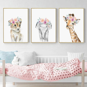"Flower Crown Animals Canvas Prints Painting & Calligraphy walls tale A4 / 8.27"" x 11.69"" / 21 cm x 30 cm Set of 3 (Lion, Elephant, Giraffe)"