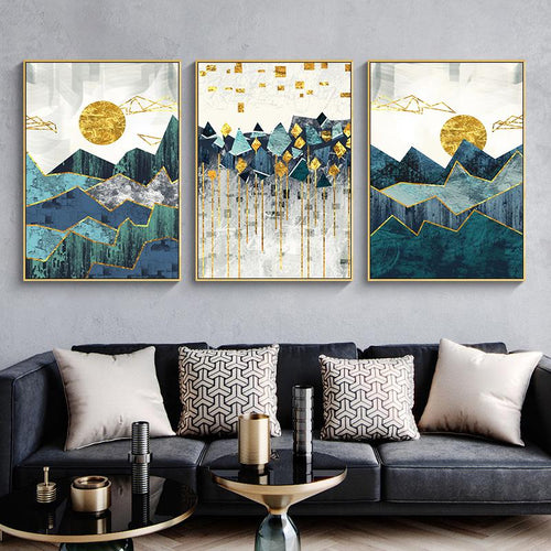 Geometric Sun Landscape wall art Sayea Decor Store