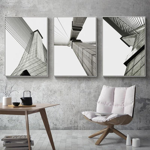 Industrial Geometric Building Canvas Painting Black White Wall Art Posters and Prints Wall Pictures for Living Room Home Decor|Painting & Calligraphy Painting & Calligraphy Sayea Decor Store