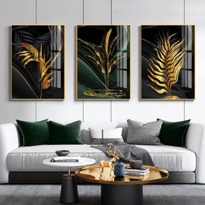 Modern Abstract Canvas Poster Golden Leaves Home Sayea Decor Store