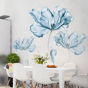 Blue Floral Wall Decals Wall Stickers Adah Store