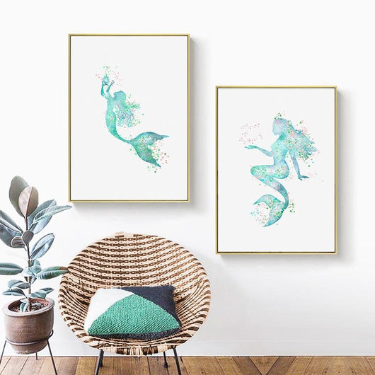 Nordic Abstract Blue Mermaid Wall Art Canvas Painting Modern Minimalist Posters and Prints Picture for Living Room Home Decor|Painting & Calligraphy Painting & Calligraphy Sayea Decor Store