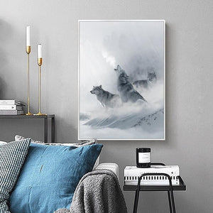 Nordic Black White Animal Poster Wolf Elk Wall Art Canvas Painting Forest Snow Mountain Print Picture for Living Room Home Decor|Painting & Calligraphy Painting & Calligraphy Sayea Decor Store