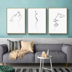 Nordic Figure Animal Line Poster Modern Abstract Canvas Painting Wall Art Print Decorative Picture Living room Home Decoration|Painting & Calligraphy Painting & Calligraphy Sayea Decor Store