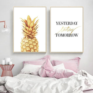 Pink Ananas Posters Plants Pineapple Wall Art Pictures Nordic Canvas Landscape Painting Modern Living Room Print Home Decoration Painting & Calligraphy newbility decorate Store