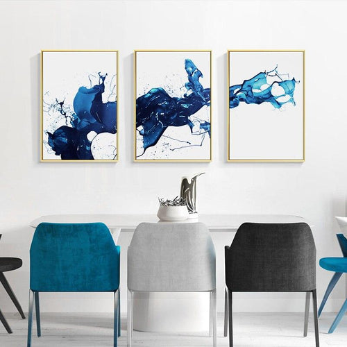 Watercolour Blue Abstract Wall Art Canvas Painting Minimalist Nordic Posters and Prints Wall Pictures for Living Room Home Decor|Painting & Calligraphy Painting & Calligraphy Sayea Decor Store