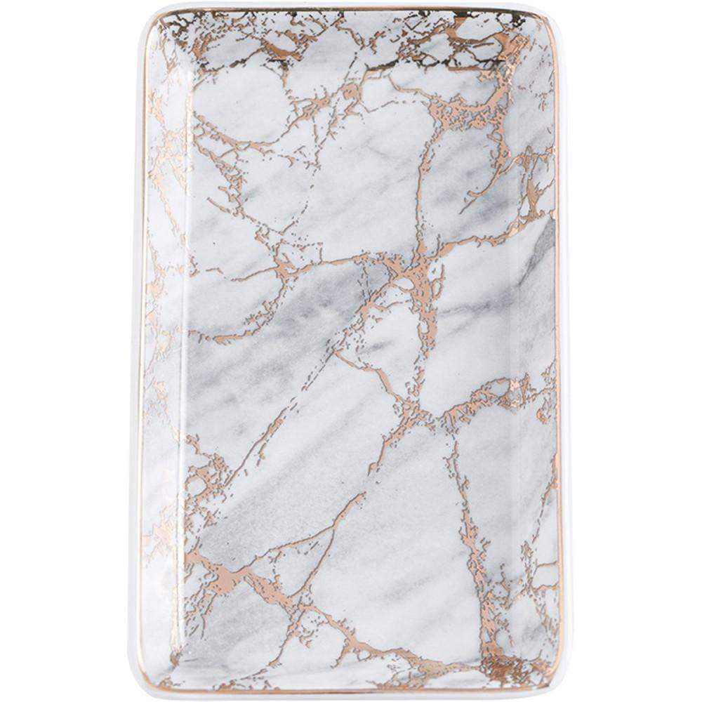 Ceramic Marble Tray with Pink Metallic Details - 1 / Large - Home Office Storage